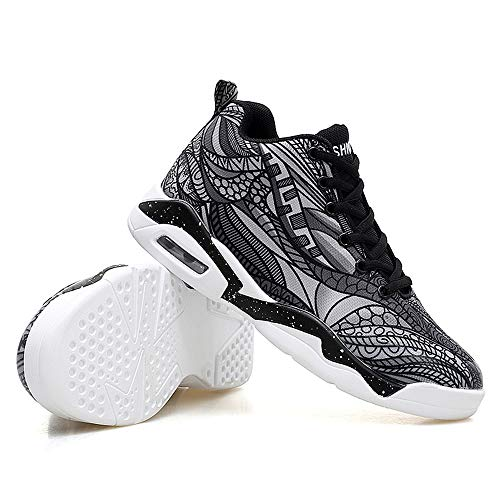 BAIQUAN Men Women Air Cushion Basketball Shoes Tennis Shoes Fashion Sneaker Black