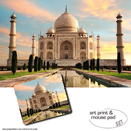 1art1 Taj Mahal, The Crown of Palaces in The Morning Sun 1 Poster Art Print (47x31 inches) + 1 Mouse Pad (9x7 inches) Gift Set
