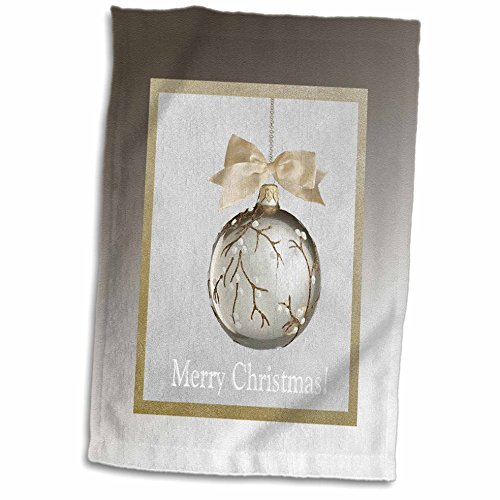 3D Rose Ornament White Berry Vine with Bow-Gold and Silve...