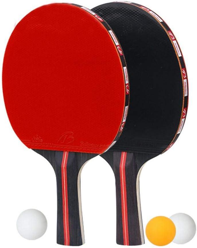 Lizefang Nouveau Pratique Tennis De Table Batte De Main-Shake Entraînement De Raquette Ping-Pong Batte De Raquette De Tennis De Table (2 Raquettes + 3 Balles)