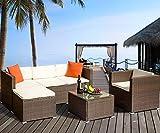 Herman Rattan Wicker Cushioned Sectional Furniture Garden Patio Sofa Set, ((4 Pieces, Brown)
