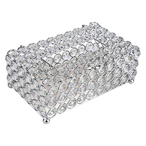 Box Crystal Tray - Home Decors, WensLTD Crystal Tissue Box Cover Tray 200pc Paper Towel Storage for Elegant Décor (Ship from US!!!) (Silver)