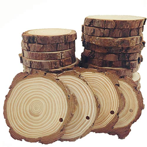 - Natural Wood Slices with Hole 15pcs 2.75-3.14 inch for Crafts Centerpieces Predrilled with Tree Bark Unfinished Wooden Circles Suit Christmas Ornaments DIY Crafts