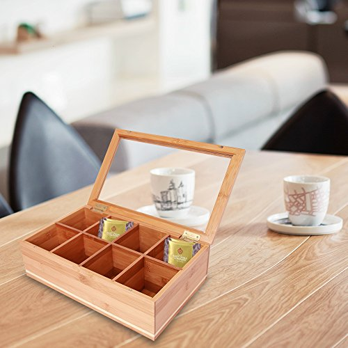Everything Bamboo Wooden Tea Bag, Condiment or Small Accessories Storage Organizer Caddy with Clear Lid & 8 Compartments by Everything Bamboo (Image #5)