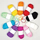 Coloured Wool for Knitting Crocheting and Embellishing Crafts (Pack of 10)
