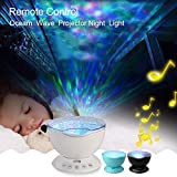 Katoot@ Ocean Wave Led Projector Nightlight Baby Sleeping Night Lamps + IR Remote Control 12pcs RGB Led with Built-in Speaker for Kids (7 Colorful mode, Black)