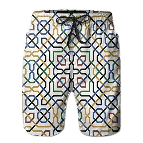 Men Swim Trunks Beach Shorts,Traditional Moorish Motif with Classic Ethnic Arabic Effects Marrakesh Design Print ()