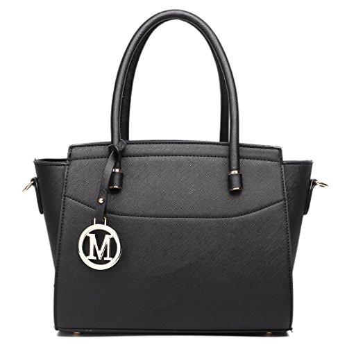 Handbag Lulu Shoulder Black 1625 Winged Bag Miss Faux Satchel Leather Small Women OpW6qX