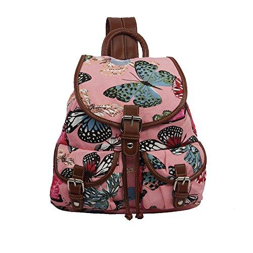 Mujer Niñas mariposa lienzo mochila mochila escolar bolsa Colegio Bolsa de hombro para mujer rosa