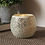 Romantic Mosaic Glass Shards Led Candle Holders Glittery Geometric Silver Chip Moonlight Bowl Candleholder Flameless Battery Operated Candlesticks Electronic Wax Night Light for Wedding Home Party