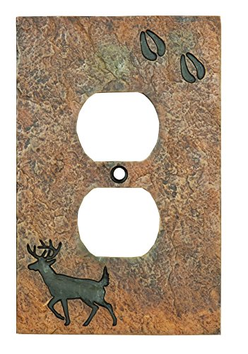 Big Sky Carvers B5050108 Deer with Tracks Single Outlet Cover, ,
