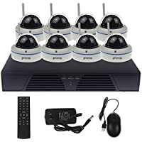 HD 720P 8CH Security Camera System Wireless with 8PCS Waterproof,Motion Detection & Email Alarm, Night Vision 50feets Dome Wifi IP Camera