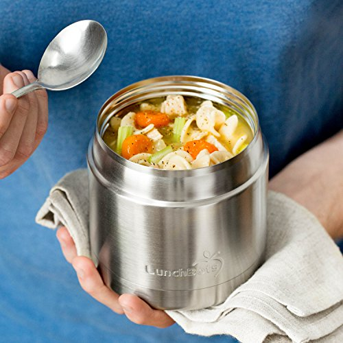 LunchBots Wide Thermal 16 oz. All Stainless Steel Bowl - Insulated Food Container Stays Hot 6 Hours or Cold for 12 Hours - Leak Proof Soup Jar for Portable Convenience - Blue by LunchBots (Image #5)