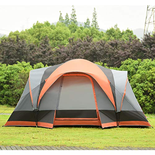 (KCHEX>>>Portable 8 Person Family Tent Easy Set-up Outdoor Camping Hiking Rainproof W/Bag>This Camping Tent adopts The Water-Proof Fabrics and for Faster Water Runoff paired with Sealed Seams and rain)