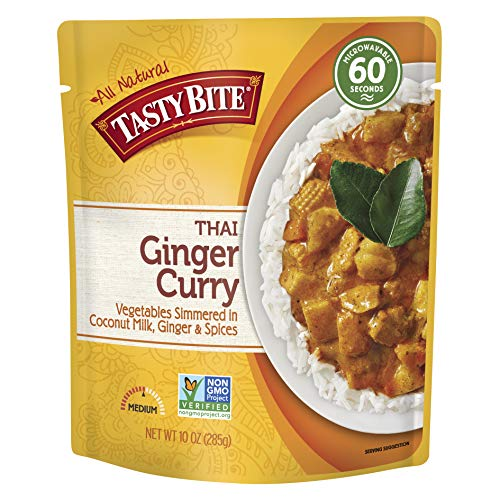 Tasty Bite Thai Entree Penang Ginger Curry 10 Ounce (Pack of 6), Fully Cooked Thai Entrée with Vegetables in Coconut Milk with Thai Basil & Lemongrass Vegetarian, Gluten Free, Ready to Eat
