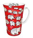 Konitz 19-Ounce Chain of Elephants Megs Mugs, Red, Set of 4