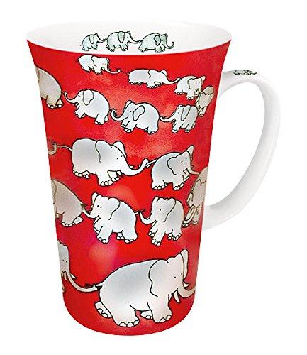 Konitz 19-Ounce Chain of Elephants Megs Mugs, Red, Set of 4 -