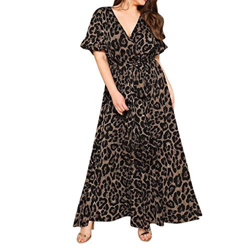 CCatyam Plus Size Dresses for Women, Skirt Short Sleeve Leopard Print V-Neck Loose Sexy Bandage Casual Fashion Black