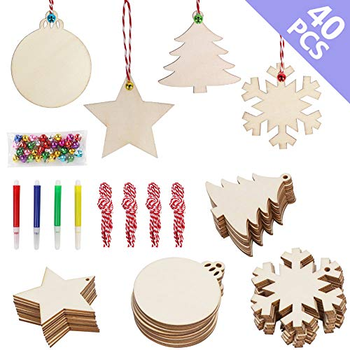 Easy Diy Christmas Ornaments (OurWarm 40pcs DIY Christmas Wooden Ornaments Unfinished, 4 Style Craft Wood Kit Great for Crafts Christmas Ornaments DIY Crafts (With 4 Coloured)