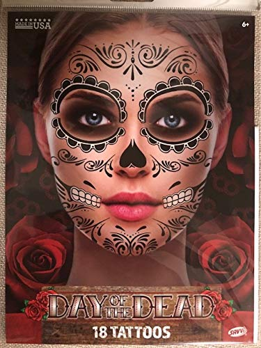 Black Skeleton Day of the Dead Temporary Face Tattoo Kit: Men or Women - 2 Kits -
