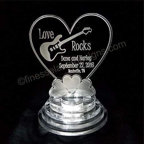 - Guitar Love Rocks Lighted Wedding Birthday Cake Topper Acrylic Heart Cake Top Personalized Engraved