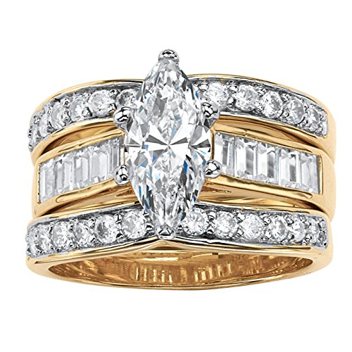 Palm Beach Jewelry Marquise-Cut White Cubic Zirconia 14k Gold-Plated 3-Piece Channel-Set Bridal Ring Set Size 8