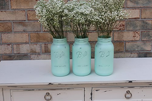 3 Turquoise Blue Mason Jar Set- Available in Pint, Quart, and Half Gallon size. (Blue Quart Canning Jars compare prices)