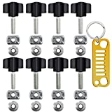Set of 8 Thumb Screws with Keychain, FineGood Heavy Duty Hurricane Styled Thumb Screws for All 1995-2016 Jeep Wrangler YJ TJ JK JKU Sports Sahara Freedom Rubicon X Unlimited X 2 4 door - Black