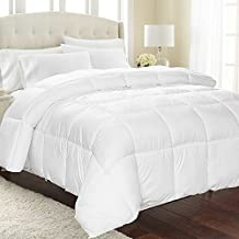 """Equinox Comforter - (350 GSM) White Alternative Goose Down Duvet - Hypoallergenic, Plush 350GSM Siliconized Fiberfill, Box Stitched, Protects Against Dust Mites and Allergens (White, Queen - 88"""" x 88"""")"""