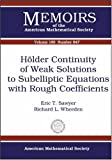 Hölder Continuity of Weak Solutions to Subelliptic Equations with Rought Coefficients, Eric T. Sawyer and Richard L. Wheeden, 0821838261