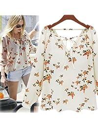 Tenworld Women Tether Blouse Chiffon Floral Summer Casual Long Sleeve T-Shirt