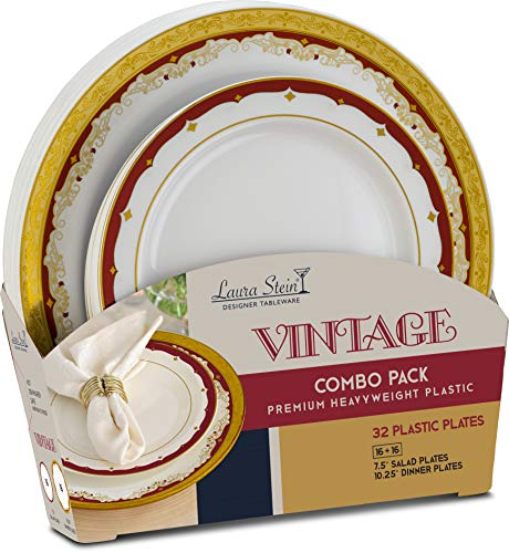 Laura Stein Party Plates Set of 32 Disposable Combo Set, Plastic Dishes, White Plates With 3 Tone Rim/Border Gold & Burgundy Includes 16 10.75'' inch Plates & 16 7.5'' inch Plates Vintage Series