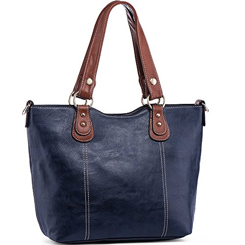 UTAKE Handbags for Women Top Handle Shoulder Bags PU Leather Tote Purse Meduim Size Dark Blue