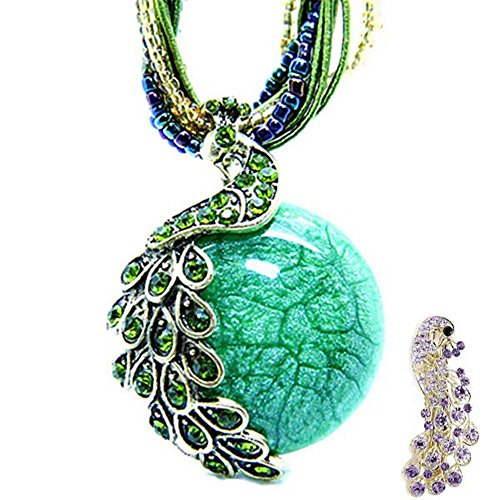 Black Friday Deals-Zonman® Two in One Pretty Jewelry Retro Bohemia Style Pendant Opal Phoenix Peacock Necklace Matching Hair Clip Gift(green) (Policy Friday Return Black)