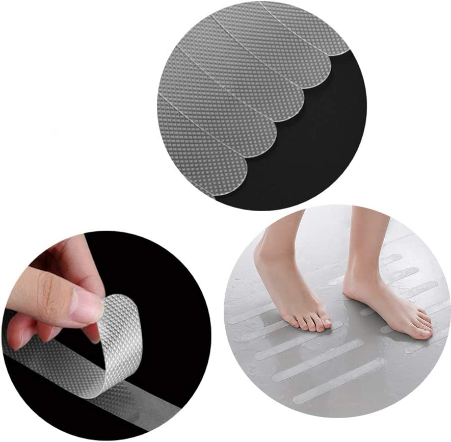 Shower Stickers Bath Safety Strips Transparent Self-Adhesive Non-Slip Strips Pad with Plastic Scraper Bathtub Flooring Safety Tape Mat for Bath Shower Stair 20* 380mm YUEMING 24Pcs Non Slip Stickers