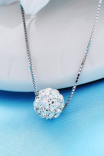 s925 sterling silver women gift full diamond single crystal ball clavicle chain necklace pendant sets platini poetry