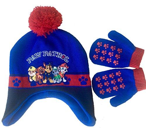 Paw Patrol Pom Pom Knit Beanie Hat and Mittens Set Toddler