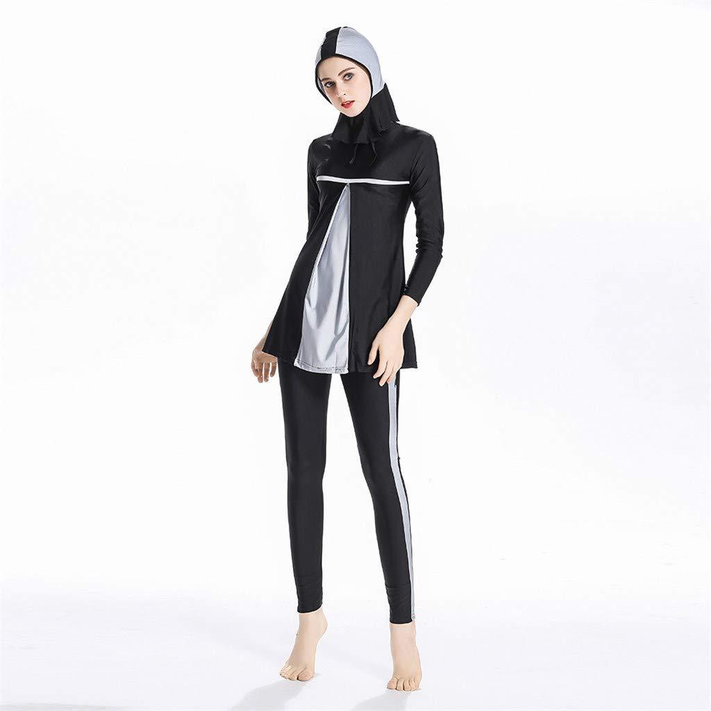 Heligen Maillot de bain musulman pour femme Hijab Couverture int/égrale Maillot de bain musulman XL Noir
