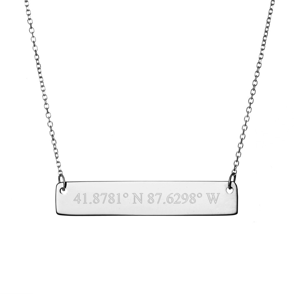 Sterling Silver Custom Coordinates Bar Necklace (16