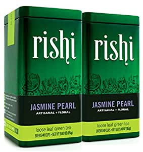 Rishi Tea Organic Jasmine Pearl Loose Tea, 3 Ounce Tin (Pack of 2)