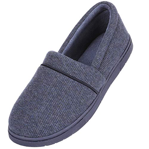 (ULTRAIDEAS Women's Comfy Memory Foam Cotton Knit Slippers, Ladies' Plush Terry Lining Loafer Lightweight House Shoes with Indoor Outdoor Anti-Skid Rubber Sole Navy Large)