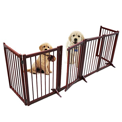 Freestanding Wooden Pet Gate, 6 Panel Folding Wooden Fence, Dog Puppy Gate for Indoor Hall Doorway Stairs, Fits Small Medium Animals (5 Pet Panel Gate)
