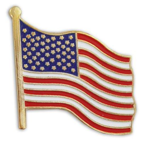 United States Waving American Flag Stars and Stripes Lapel Pin ()