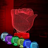Rose Flower Romantic Gift Ideas Night Lights 3D Illusion Lamp Led Desk Unique Gifts for Her Home Decor Office Bedroom Wedding Party Decorations Baby Nursery Lighting 7 Color Visual Red Roses Crackle