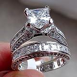 WensLTD 2-in-1 Womens Vintage White Diamond Silver Engagement Wedding Band Ring Set (#10, Silver)