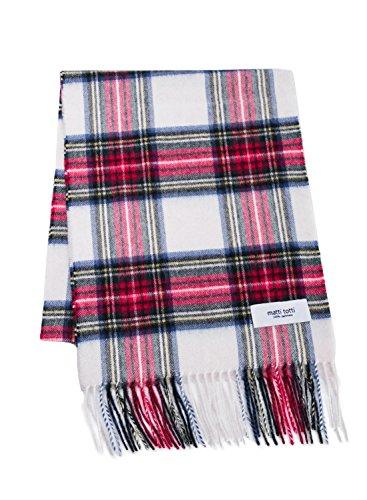 White X Red 100% Cashmere Plaid Scarf Muffler Men Gift Scarves Wrap Blanket B1021B1-10 - Plaid Muffler Scarf