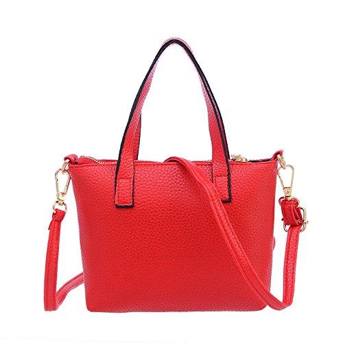 Sale Clearance Sunday77 Womens Fashion Zipper Handbag Shoulder Bag Ladies Tote Purse Bag Casual Classic Vintage Shoulder PU Leather Bag for Ladies Red