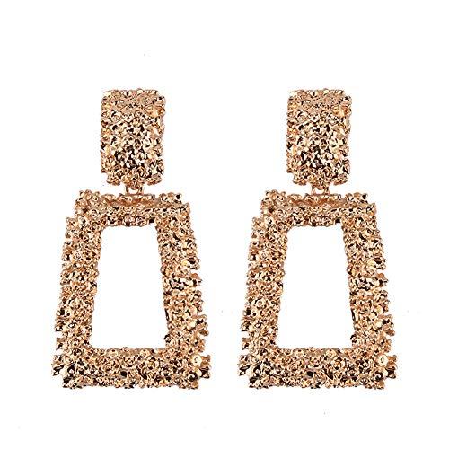 Large Raised Design Metal Silver Gold Plated Geometric Dangle Drop Stud Earrings for Women Girls Boho Textured metallic pendant earrings Statement Jewelry - Earrings Square Design