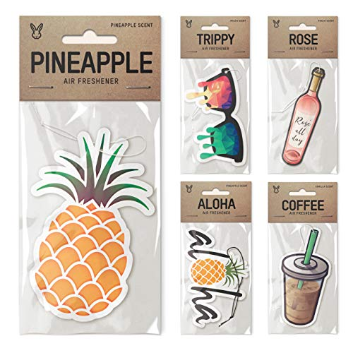 Aloha Bear (Nose Rabbit Air Freshener Bundle 5 Pack, Trippy Aloha Theme, Pineapple, Trippy Glasses, Cali Bear, Aloha, Iced Coffee, Premium Scents)