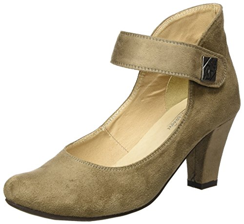 Hirschkogel 3004535 Toe Closed Beige Heels Women's 066 Taupe qffSrO